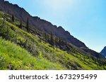 Rocky Mountain Ridge With Steep ...