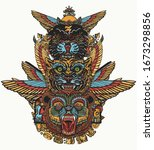 ancient totem tattoo and t... | Shutterstock .eps vector #1673298856