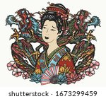 dragons and asian woman  fan ... | Shutterstock .eps vector #1673299459