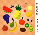 cartoon doodle cute fruits and... | Shutterstock .eps vector #1673307229
