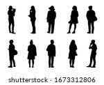 people silhouette stand set on... | Shutterstock .eps vector #1673312806