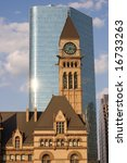 Stock photo toronto s old city hall against modern building 16733263