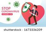 vector fight virus. cartoon man ... | Shutterstock .eps vector #1673336209