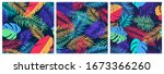 set of seamless patterns with... | Shutterstock .eps vector #1673366260