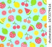 colorful fruit pattern... | Shutterstock .eps vector #1673379616