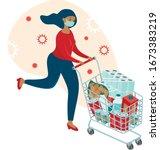 coronavirus panic shopping.... | Shutterstock .eps vector #1673383219