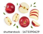 Red apple with half isolated on ...