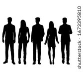 set of vector silhouettes of ... | Shutterstock .eps vector #1673395810