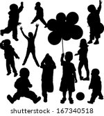 children silhouettes   vector | Shutterstock .eps vector #167340518
