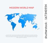3d world map. modern flat style.... | Shutterstock .eps vector #167340554