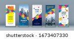 business roll up set. standee... | Shutterstock .eps vector #1673407330