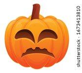 sad evil pumpkin icon. cartoon... | Shutterstock .eps vector #1673413810