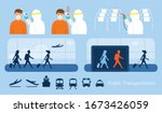 airport or public transport ... | Shutterstock .eps vector #1673426059
