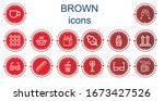 editable 14 brown icons for web ... | Shutterstock .eps vector #1673427526