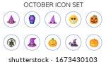 october icon set. 10 flat... | Shutterstock .eps vector #1673430103