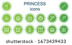 editable 14 princess icons for... | Shutterstock .eps vector #1673439433