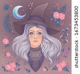 wiccan witch with moon  herbs... | Shutterstock .eps vector #1673453800