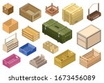 wooden box isometric vector set ...   Shutterstock .eps vector #1673456089
