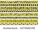 danger ribbon. yellow caution... | Shutterstock .eps vector #1673460130