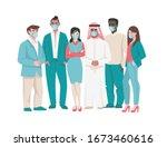 people in medical mask. cartoon ... | Shutterstock .eps vector #1673460616
