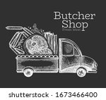 butcher shop delivery logo... | Shutterstock .eps vector #1673466400