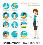 female doctor with coronavirus... | Shutterstock .eps vector #1673484640