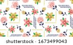 flowers and daisies pattern... | Shutterstock .eps vector #1673499043