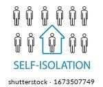coronavirus. self isolation.... | Shutterstock .eps vector #1673507749