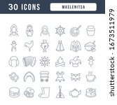 set vector line thin icons of... | Shutterstock .eps vector #1673511979