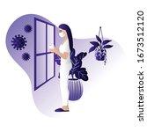 corona virus   staying at home  ... | Shutterstock .eps vector #1673512120