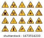 warning signs. yellow triangle... | Shutterstock .eps vector #1673516233