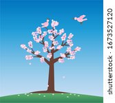 two birds and a cherry blossom... | Shutterstock .eps vector #1673527120