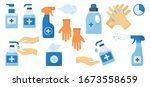 disinfection. hand hygiene. set ... | Shutterstock .eps vector #1673558659
