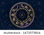 round frame with zodiac signs.... | Shutterstock .eps vector #1673575816