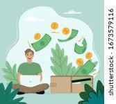 make money online concept. man...   Shutterstock .eps vector #1673579116