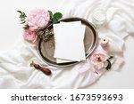feminine wedding  birthday mock ...   Shutterstock . vector #1673593693