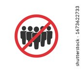 no crowd. prohibition sign for... | Shutterstock .eps vector #1673622733