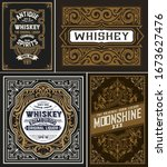 set of 4 vintage cards. vector... | Shutterstock .eps vector #1673627476
