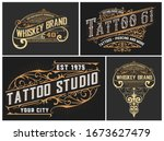 set of 4 tattoo logos with... | Shutterstock .eps vector #1673627479