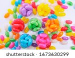 Colored Jelly Beans In Plastic...