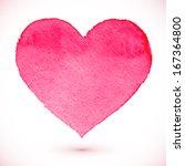 watercolor painted pink heart ... | Shutterstock . vector #167364800