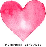 watercolor painted pink heart ... | Shutterstock . vector #167364863