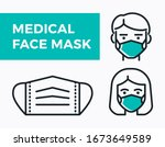 medical face mask icons. simple ... | Shutterstock .eps vector #1673649589