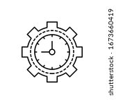 clock  gear icon. simple line ...