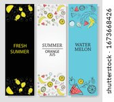 Set Banner Summer And  Fruits....