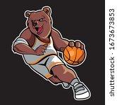Abstract Bear Basketball Mascot ...