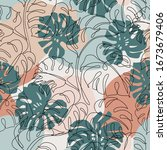 minimal botanical art seamless... | Shutterstock .eps vector #1673679406