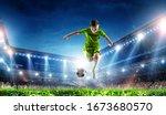 little soccer champion. mixed... | Shutterstock . vector #1673680570