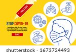 stop covid 19 template banner ... | Shutterstock .eps vector #1673724493