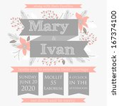 wedding invitation  thank you... | Shutterstock .eps vector #167374100